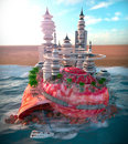 Seashell and ecologic futuristic city relaxing vacation concept background with Stock Images