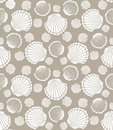 Seashell pattern seamless scallop of mollusks vector illustration Royalty Free Stock Photos