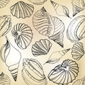 Seashell sand seamless texture hand drawn stylish summer sea shell pattern beach holiday background Stock Image