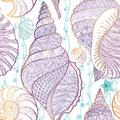 SeaShell seamless pattern Underwater sea tiled background Summer Royalty Free Stock Photo