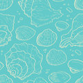 Seashell sketch seamless sea pattern Stock Photography