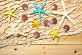 Seashell, starfish and fishing net Royalty Free Stock Photo