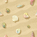 Seashells on the beach, seamless background,  illustration Royalty Free Stock Photo