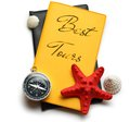 Seashells on best tour brochure compass seastar and Stock Photo