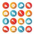 Seashells flat design long shadow glyph icons set Royalty Free Stock Photo