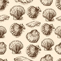 Seashells hand drawn vector graphic etching sketch, seamless pattern, underwater artistic marine ornament, design for card, wallpa