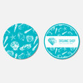Seashells hand drawn vector ink sketch isolated on blue background, seamless animal pattern, underwater decorative