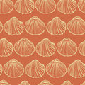Seashells seamless pattern vector. Orange background.