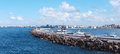 Seashore in alexandria with sky cloud rocks egypt Royalty Free Stock Photo