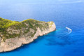 Seashore near amazing beach navagio in zakynthos greece Stock Images