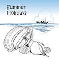 Seaside. Beach, shell, ocean, ship. Summer holiday retro background Royalty Free Stock Photo