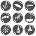 Seaside beach summer button set holidays monochrome gray with light shadow on white background vector isolated elements Stock Image