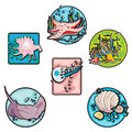 Seaside clip art icons Royalty Free Stock Photography