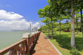 Seaside cobblestone trail with brick railingof gulangyu island
