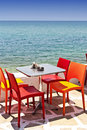 Seaside eating table in thassos island greece Stock Photography