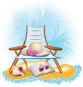 Seaside holiday background summer with palm chair umbrella book Royalty Free Stock Images