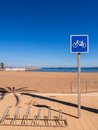 Seaside holiday resort cycle route spain bicycle racks and sign at a on the mar menor los nietos costa calida Stock Image