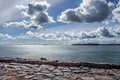 Seaside landscape with cloudy sky scandinavian nature Royalty Free Stock Images