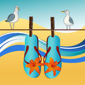 Seaside landscape with gulls and flipflops seagulls cloudscape season beach Royalty Free Stock Image