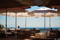 Seaside lounge restaurant in thassos island greece Stock Photography