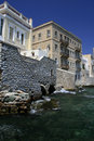 Seaside mansions, Syros island, Greece Stock Photo