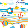 Seaside pattern with boat life buoy anchor and beach balls over waves Stock Photography