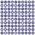 100 seaside resort icons hexagon purple