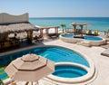 Seaside resort swimming pools Royalty Free Stock Photo