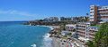Seaside resort town nerja in spain panorama long coastline with beaches of the as seen from the balcon de europa viewpost location Stock Photography