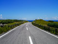 Seaside road in Yonaguni Island, Japan Royalty Free Stock Photo