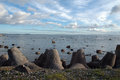 Seaside with rocks breakwater on coastline at baltic sea Royalty Free Stock Images