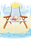 Seaside summer holiday background with hat palm chair Royalty Free Stock Photo