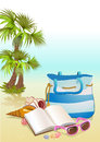 Seaside summer holiday background with palm bag shells and sunglasses Royalty Free Stock Image