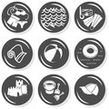 Seaside summer holidays gray button set beach monochrome with light shadow on white background vector isolated elements Stock Photos