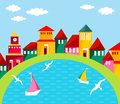 Seaside town cartoon illustration of small cosy port abstract street with homes and water scene colorful houses on the waterfront Royalty Free Stock Photos