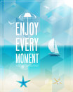 Seaside view poster vector background Royalty Free Stock Image