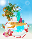 Seaside view on sunny day with sand, beach chair, anchor, life preserver, fish, splash, sunglasses and palm leaves. Royalty Free Stock Photo