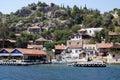 Seaside village on rock coast Royalty Free Stock Images
