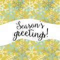 Season`s greetings. Vector illustration of white and blue snowflakes on yellow background Royalty Free Stock Photo