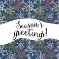 Season`s greetings. Vector illustration of white, yellow and pink snowflakes on dark blue background Royalty Free Stock Photo