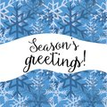 Season`s greetings. Vector illustration of white and dark blue snowflakes on blue background Royalty Free Stock Photo