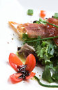 Season salad with crispy parma ham Royalty Free Stock Images