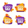 Season sale, vector collection of bright autumn halloween discou Royalty Free Stock Photo