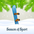 Season of sport blue snowboard outside close up Stock Photos
