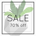 Season spring sale 70 off sign over plant.