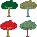 Seasonal abstract trees set of four on white background Stock Photo
