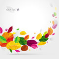 Seasonal autumn leaves background brightly colored flying in the wind Stock Images