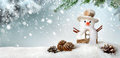Seasonal background with happy snowman modern in blue green and white a cute in the snow ideal for christmas or winter season Royalty Free Stock Photography