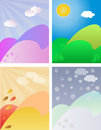 Seasonal backgrounds set vector image of four Royalty Free Stock Images