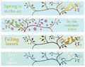 Seasonal banners withs love brids Stock Photos